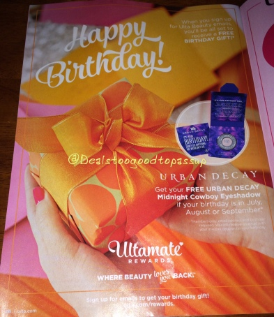 Ulta Birthday Gift July through September