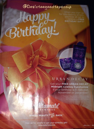 Ulta Birthday Offer Quarter 4 2016