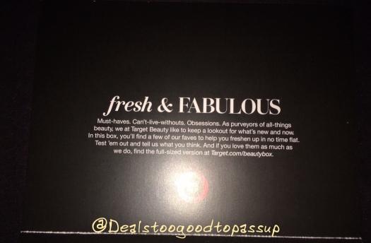 Target Beauty Box Fresh & Fabulous 4