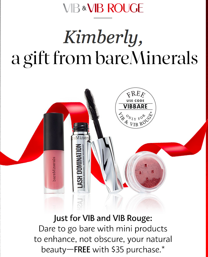 VIBBARE -A FREE 3-Piece Gift from bareMinerals When Picked Up By a ...