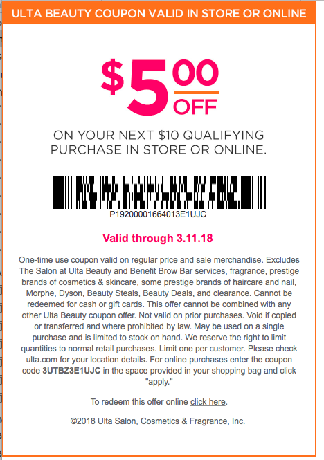 photograph relating to Ulta 5 Off 10 Printable Coupons referred to as Ulta Focused Greenback Off Discount coupons 2018 are Often $5, $10