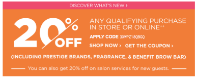 d070f5d3ed3f33 Ulta Beauty 20% Off Prestige Coupon Schedule and Rules