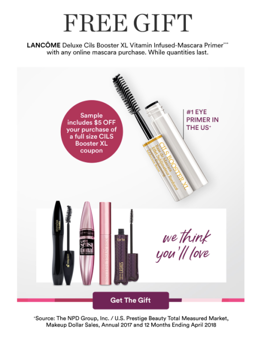 3548c8c41a9 -Receive a free deluxe Lancome Cils Booster XL Vitamin Infused Mascara  primer with any Mascara purchase. Valid 11/09/18 – 11/24/18.