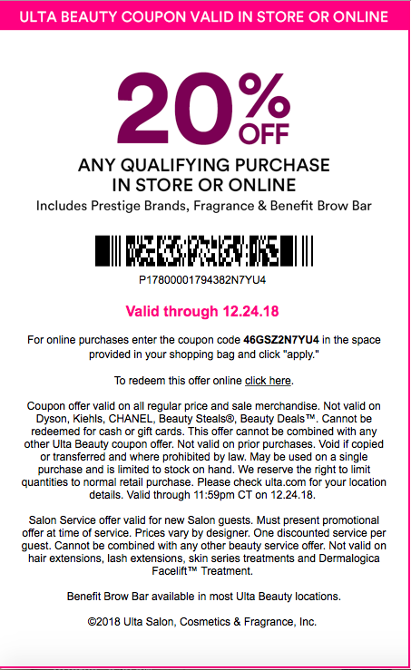 image relating to Dyson Printable Coupon identified as Ulta Magnificence 20% Off Status Coupon Agenda and Regulations
