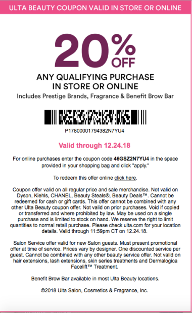 Ulta Beauty 20 Off Prestige Coupon Schedule And Rules Deals Too