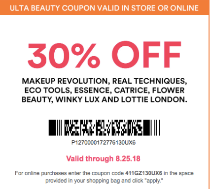 Ulta 2018 Percentage Off Coupons For Specific Products or