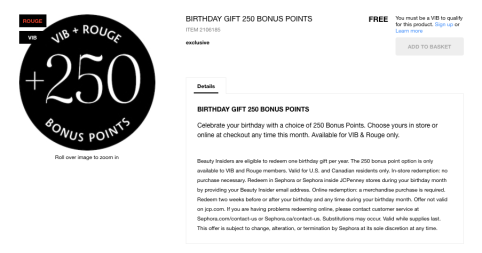 If You Are A VIB Or Rouge Member Who Is Not Interested In Any Of The Other Sephora Birthday Gifts Can Add 250 Points To Your Bank By Redeeming This