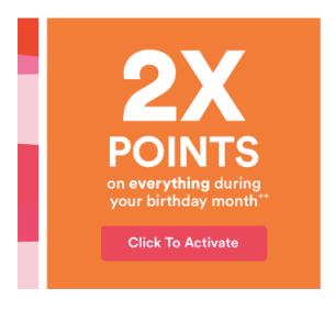 Ulta 2020 Birthday Gift 2x Points