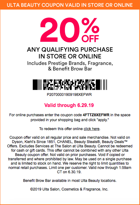 photograph relating to Carol's Daughter Printable Coupons referred to as Ulta Natural beauty 20% Off Status Coupon Timetable and Legal guidelines 2019