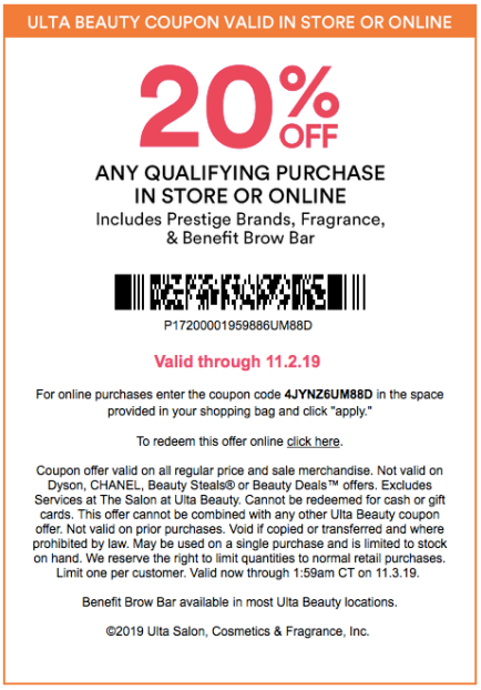 Ulta Beauty 20% Off Prestige Coupon Schedule and Rules 2019